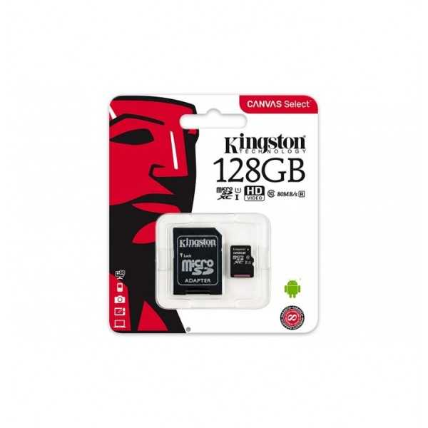 Kingston - Carte Mémoire Micro SD 128 Go Canvas Select SDHX