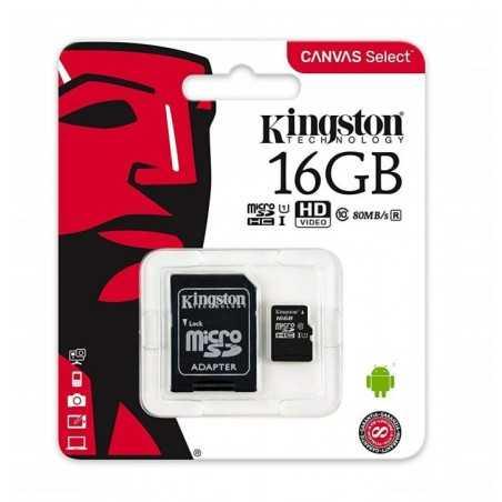 Kingston - Carte Mémoire Micro SD 16 Go Canvas Select SDHX